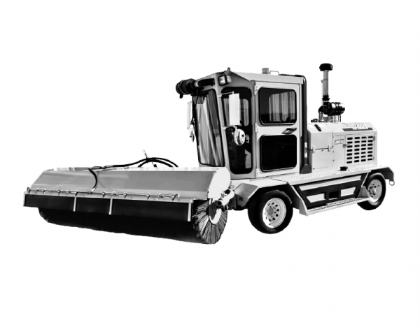Black & white illustration of our front-mount sweeper broom